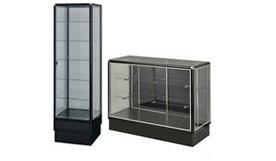 black aluminum showcases